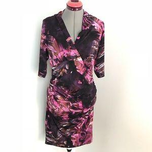 NWOT Tahari Floral 3/4 Sleeve Work Dress Sz L